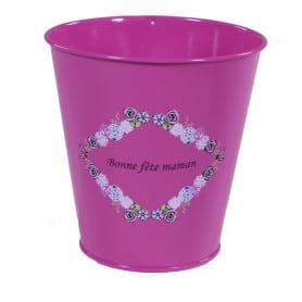 Pot de fleurs rond en zinc message Bonne Fête Maman Mimmy - grossiste fleuriste
