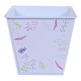 Pot de fleurs carré en zinc motif branche Earssia - matériel fleuriste