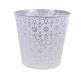 Pot de fleurs rond en zinc motifs emboutis Zrenj - matériel fleuriste