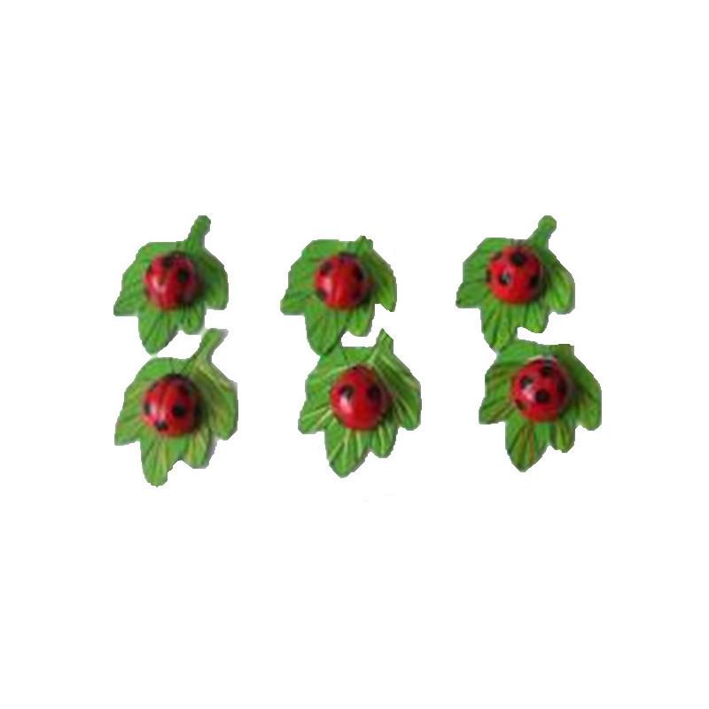 Coccinelles sur feuilles pics - Grossiste décoration
