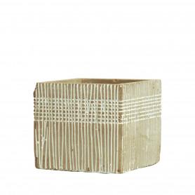 Pot carré en ciment motifs striés Prisbrea
