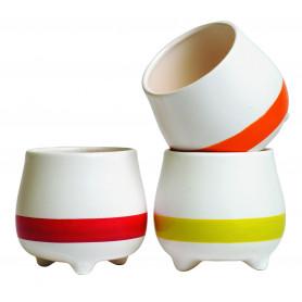 Pot de fleurs rond en céramique bicolore avec pieds Sumi - grossiste fleuristei