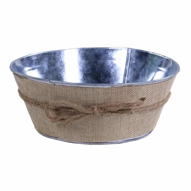 Coupe ronde en zinc et jute Zeste Tendre - fourniture fleuriste