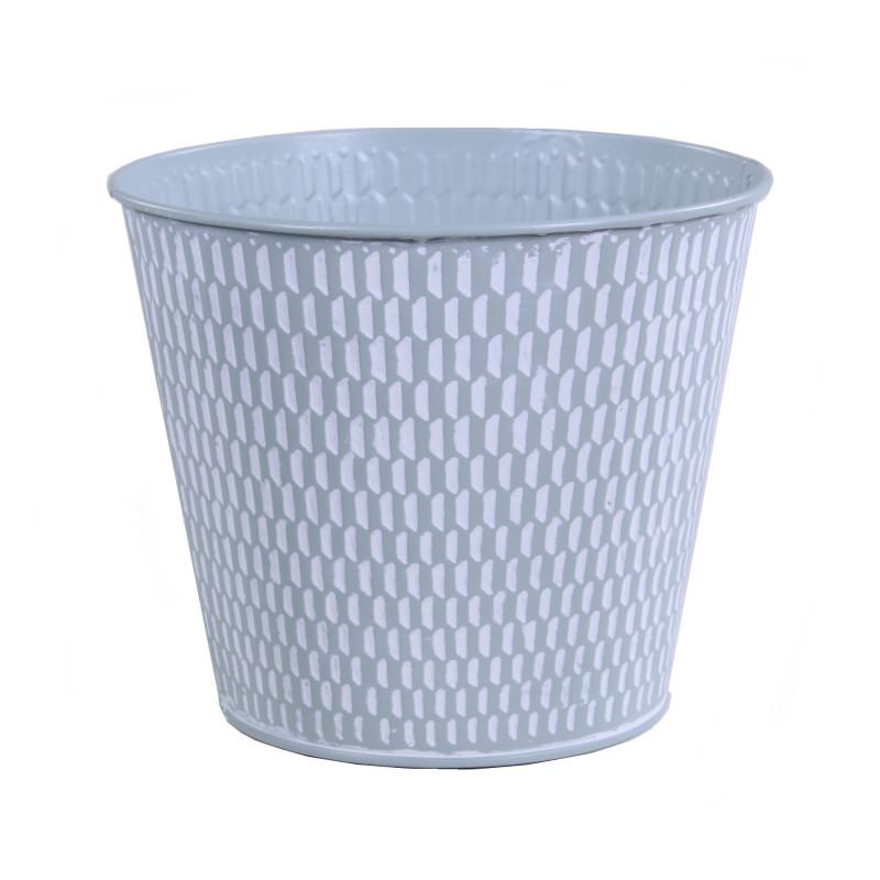 Pot de fleurs rond en zinc texturé Bianca - materiel décoration