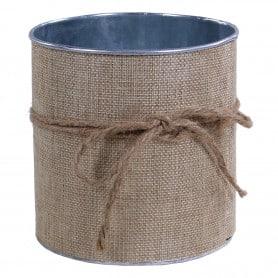 Pot de fleurs en zinc extérieur toile de jute Calla - grossiste en décoration