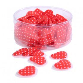 Boîte de 100 coeurs rouges pois blancs - Grossiste fleuriste