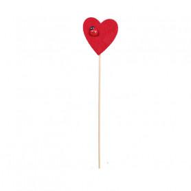 Pic coeur et coccinelle Amy - Grossiste fleuriste