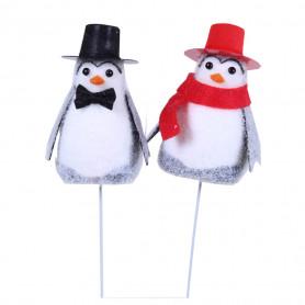 Pingouins festifs sur pic Pingue - Accessoires fleuristes