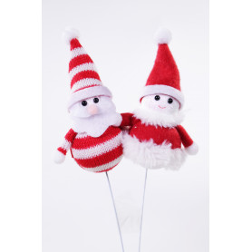 Figurines duo Noël sur pics - Accessoire fleuriste