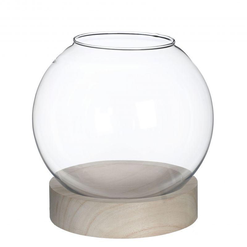 terrarium en verre avec base en bois hrem grossiste. Black Bedroom Furniture Sets. Home Design Ideas