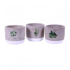 Pot de fleurs en céramique motif aromates Maro - grossiste fleuriste