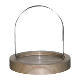 Cloche en verre sur socle en bois Gresia - grossiste déco