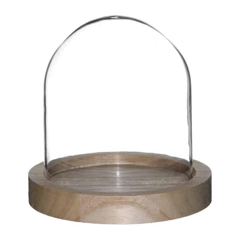 cloche en verre sur socle en bois gresia grossiste d co. Black Bedroom Furniture Sets. Home Design Ideas