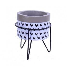 Pot en céramique support en métal Flechy - Grossiste fleuriste