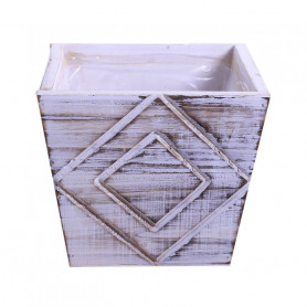Cache-pot carré en bois Crabe - Fournisseur fleuriste