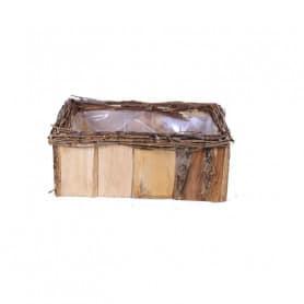 Coupe en bois rectangle bicolore Salazar - Grossiste fleuriste