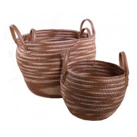 Set de 3 pots en fibre Skeeter avec anses - Grossiste fleuriste