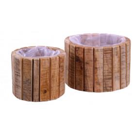 Set de 2 caches-pot en lamelles de bois - Grossiste fleuriste