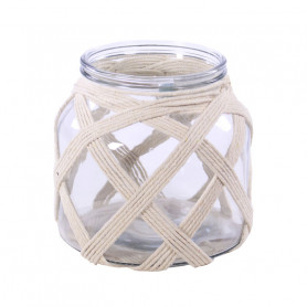 Vase en verre et corde Rowena - Grossiste fleuriste