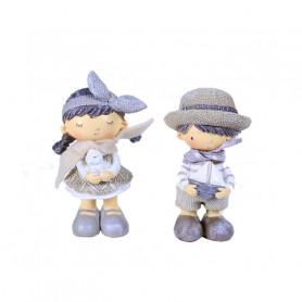 Statuette fillette et garçon en résine Leta & Tom - Grossiste déco