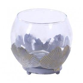Vase boule en verre et feuilles en métal Cétroipéo - Grossiste fleuriste