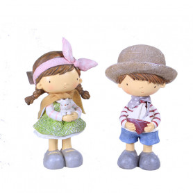 Statuettes fillette et garçon en résine Jarjer - Grossiste fleuriste
