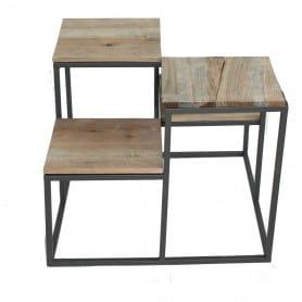 Sellette métal et bois 2 hauteurs basse Gwendo - Grossiste mobilier