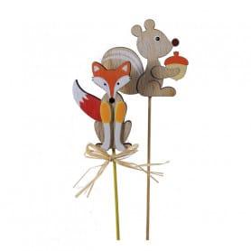 Assortiment renard et écureuil sur pic Automi - Grossiste fleuriste