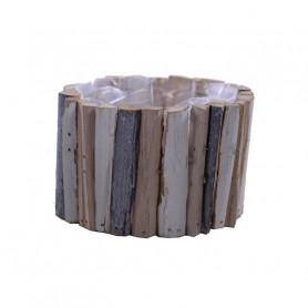 Coupe ronde lamelles bois Busya - Grossiste décoration florale