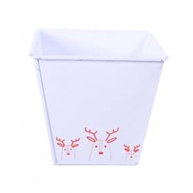 Cache-pot carré frise renne Rudolfo - Grossiste Noël