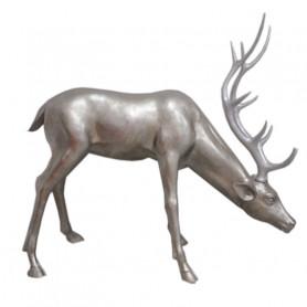 Statue cerf tête baissée Rudolphi - Grossiste deco noel