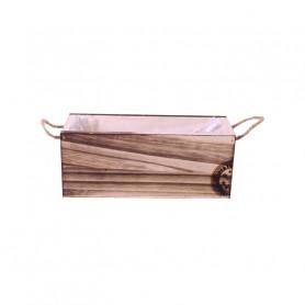 Bac rectangle en bois tampon Noël - Fournisseur fleuriste