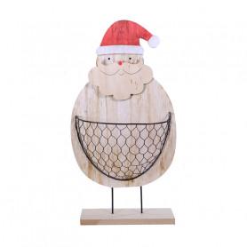 Père Noël en bois et panier grillagé PaPou - Grossiste noel