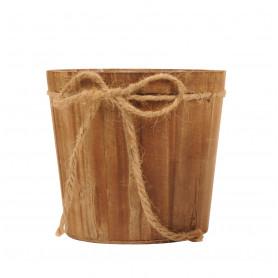 Pot de fleurs rend en bois avec corde Dinima - grossiste fleuriste