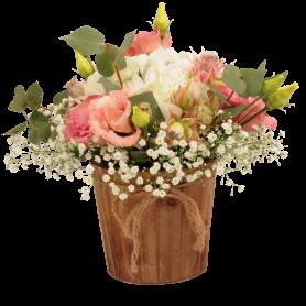 Pot de fleurs rend en bois avec corde Dinima - matériel fleuriste
