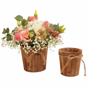 Pot de fleurs rend en bois avec corde Dinima - grossiste déco