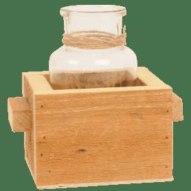 Bouteille en verre dans sa caisse en bois Herbine - grossiste déco