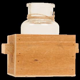 Bouteille en verre dans sa caisse en bois Herbine - grossiste fleuriste