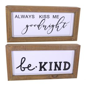 Tableau bois Be Kind Kiss Good Night - grossiste déco florale