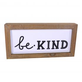 Tableau bois Be Kind Kiss Good Night - grossiste fleuriste