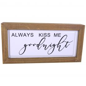 Tableau bois Be Kind Kiss Good Night - grossiste décoration florale