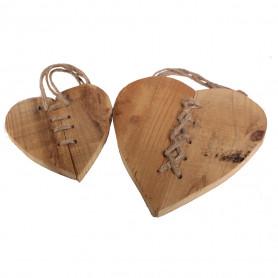 Set de 2 Coeurs en bois à suspendre Lovlaï - grossiste fleuriste