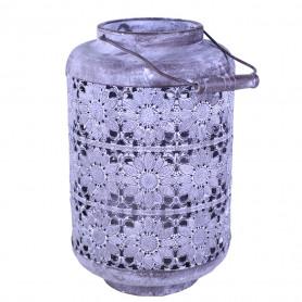 Lanterne en métal motif fleurs Isiane - grossiste décoration