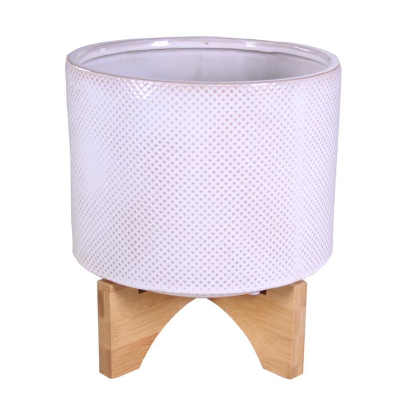 Cache-pot en céramique sur pied micromotif Losangety - Grossiste fleuriste