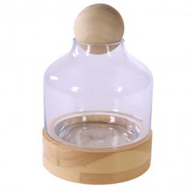 Cloche en verre sur support en bois et boule Bodary - Grossiste déco