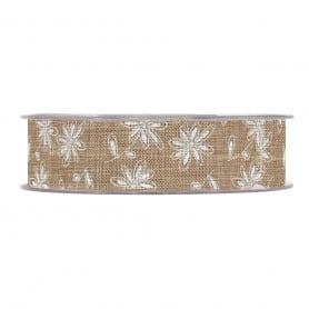 Ruban jute motif fleurs Loik - Grossiste fleuriste