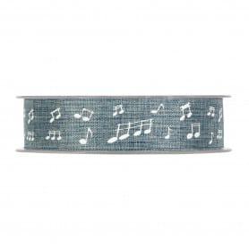 Ruban type jute motif note Loika - Grossiste matériel déco