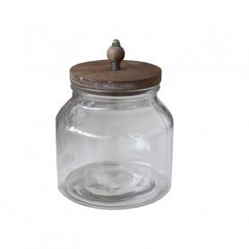 Bocal en  verre et couvercle en bois Boku - Grossiste fleuriste