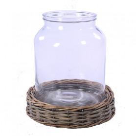 Vase en verre sur base en...