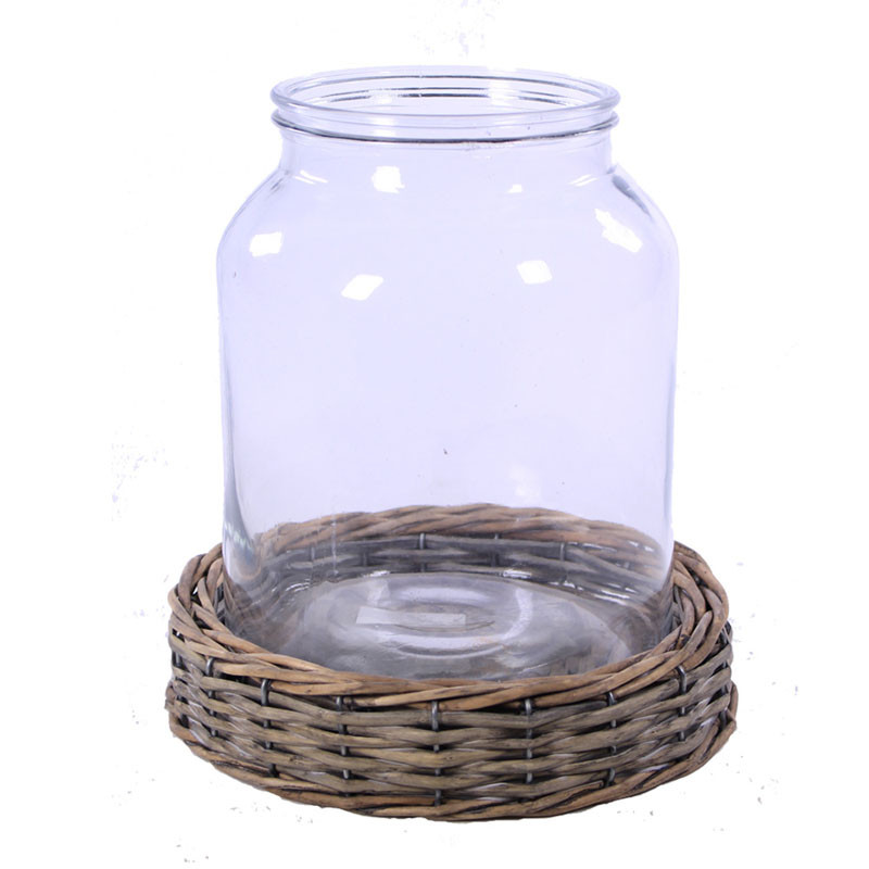 Vase en verre sur base en osier Kovy - Grossiste fleuriste